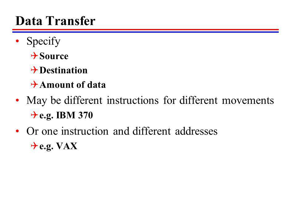 Data Transfer Specify. Source. Destination. Amount of data. May be different instructions for different movements.