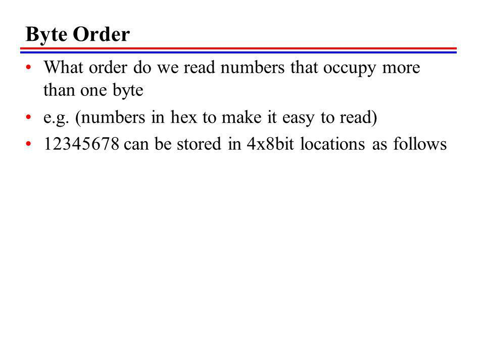 Byte Order What order do we read numbers that occupy more than one byte. e.g. (numbers in hex to make it easy to read)