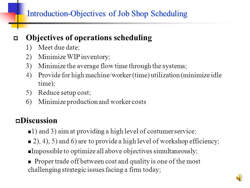 Introduction-Objectives of Job Shop Scheduling