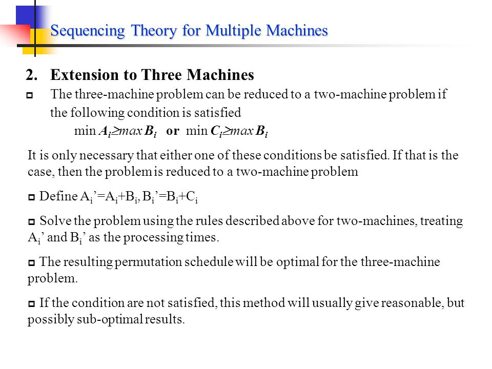Sequencing Theory for Multiple Machines