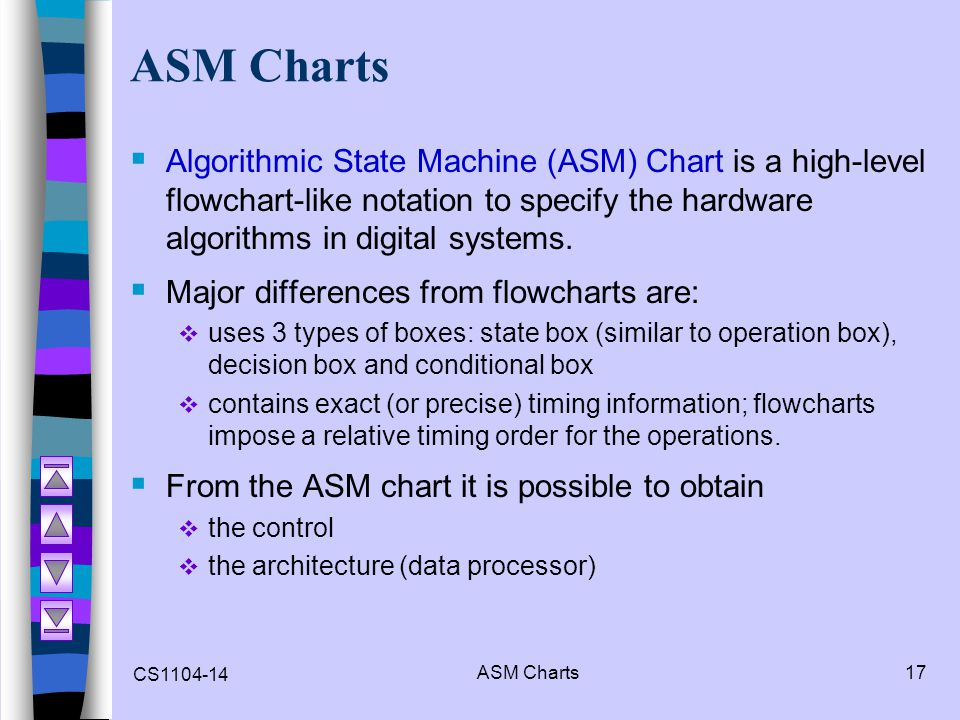 ASM Charts Algorithmic State Machine (ASM) Chart is a high-level flowchart-like notation to specify the hardware algorithms in digital systems.