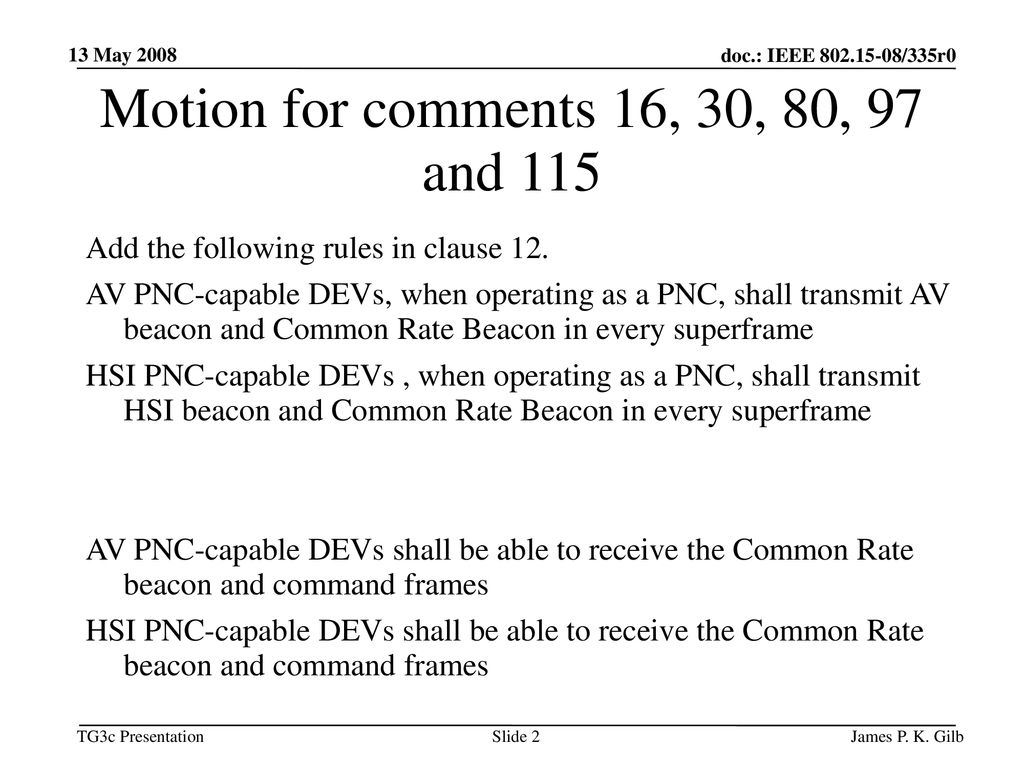 Motion for comments 16, 30, 80, 97 and 115