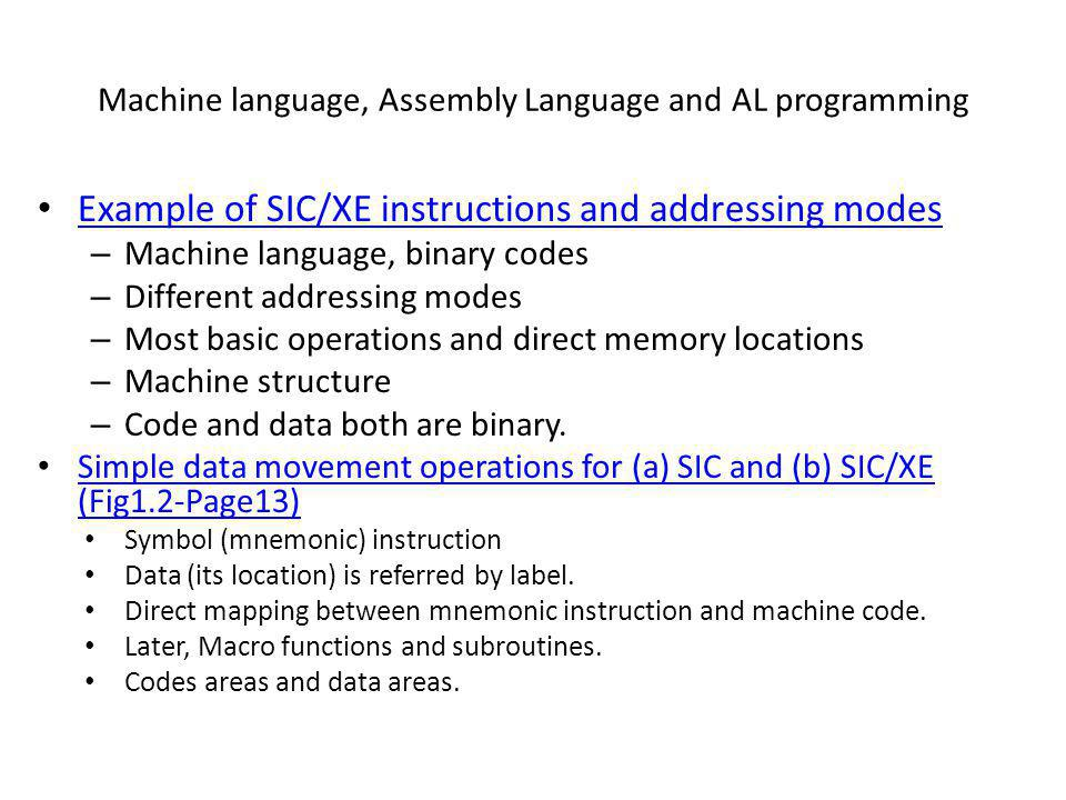 Machine language, Assembly Language and AL programming