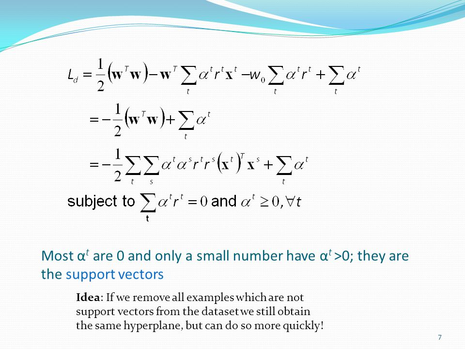 Most αt are 0 and only a small number have αt >0; they are the support vectors