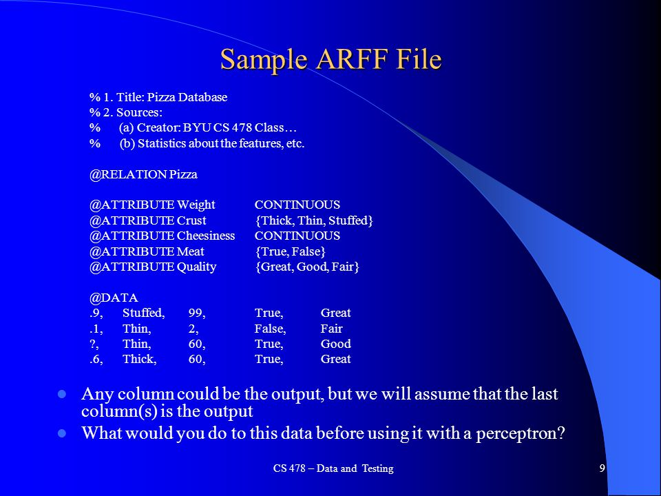 Sample ARFF File % 1. Title: Pizza Database. % 2. Sources: % (a) Creator: BYU CS 478 Class… % (b) Statistics about the features, etc.