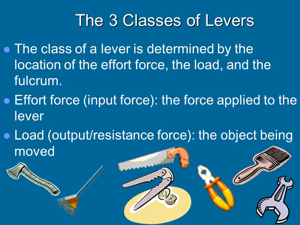 The 3 Classes of Levers The class of a lever is determined by the location of the effort force, the load, and the fulcrum.
