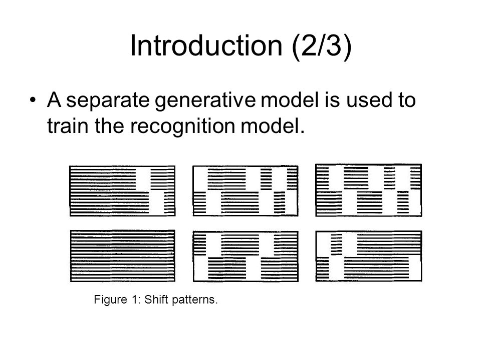 Introduction (2/3) A separate generative model is used to train the recognition model.