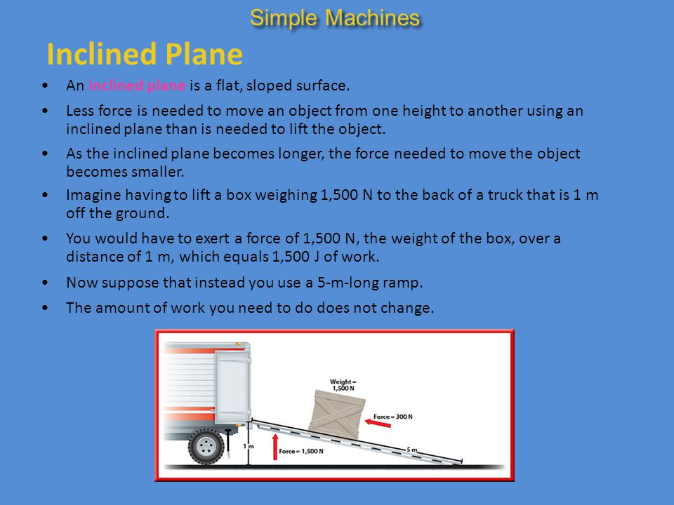 inclined plane simple machine pulley 17 inclined plane simple machines and mechanical advantage ppt video online download