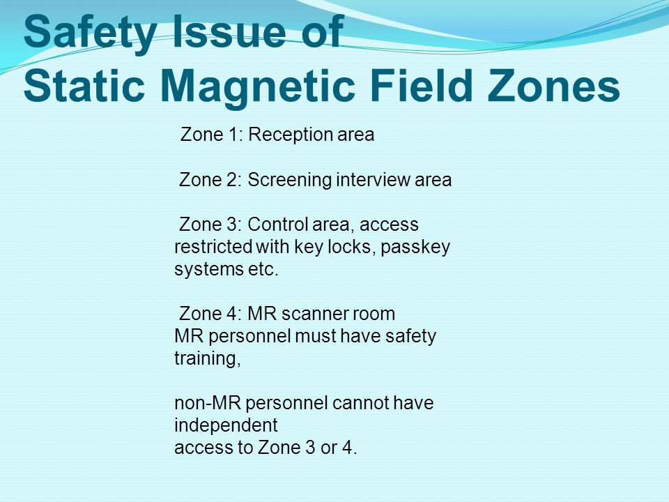 Safety Issue of Static Magnetic Field Zones