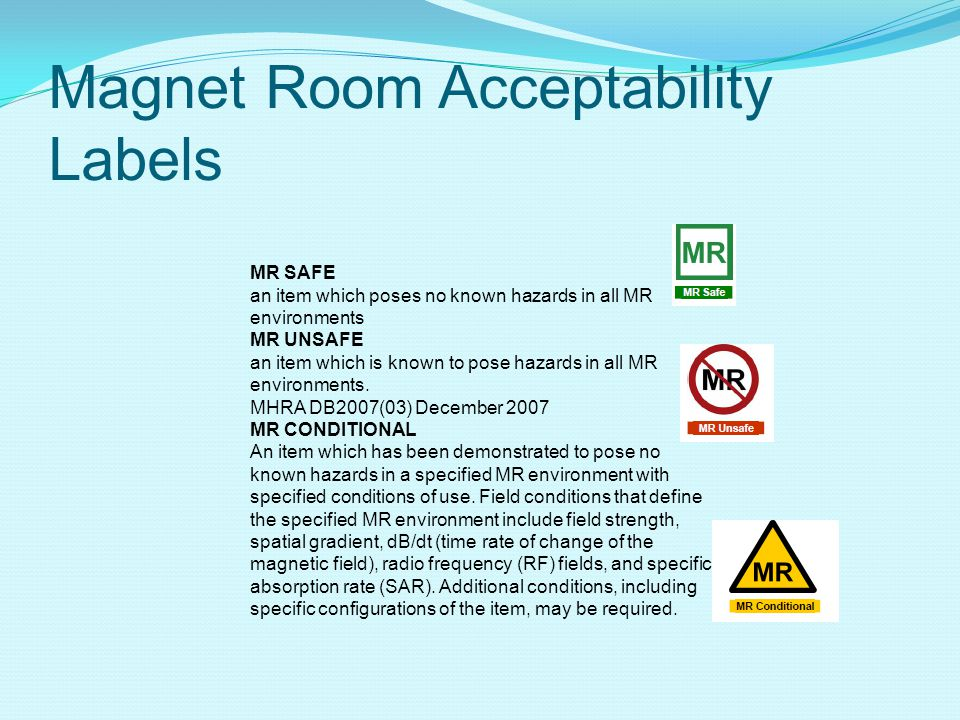 Magnet Room Acceptability Labels
