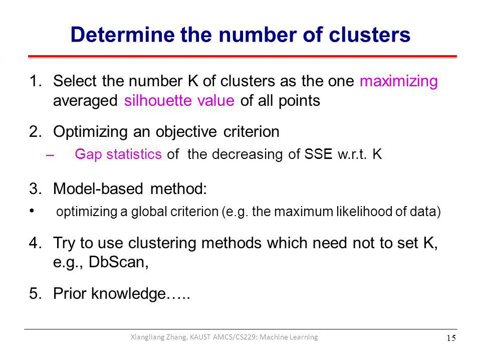 Determine the number of clusters