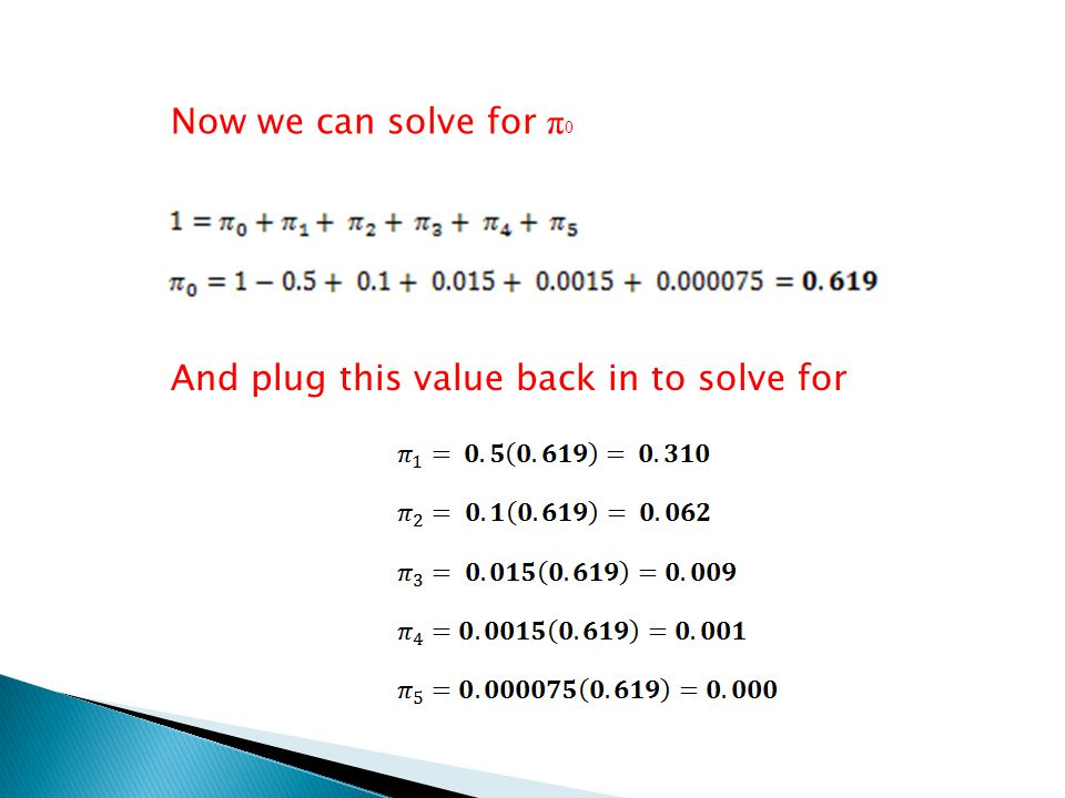 Now we can solve for π0 And plug this value back in to solve for