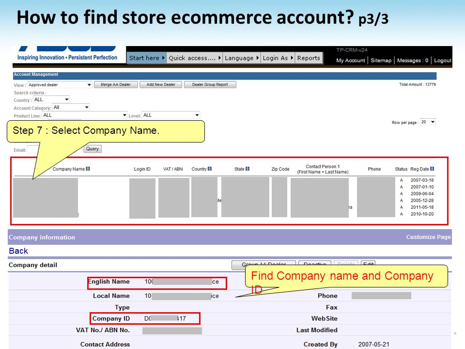 How to find store ecommerce account p3/3