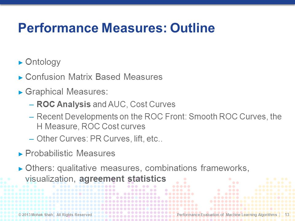 Performance Measures: Outline