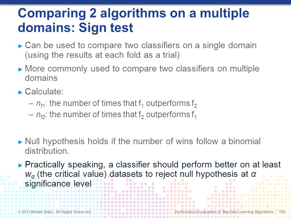 Comparing 2 algorithms on a multiple domains: Sign test