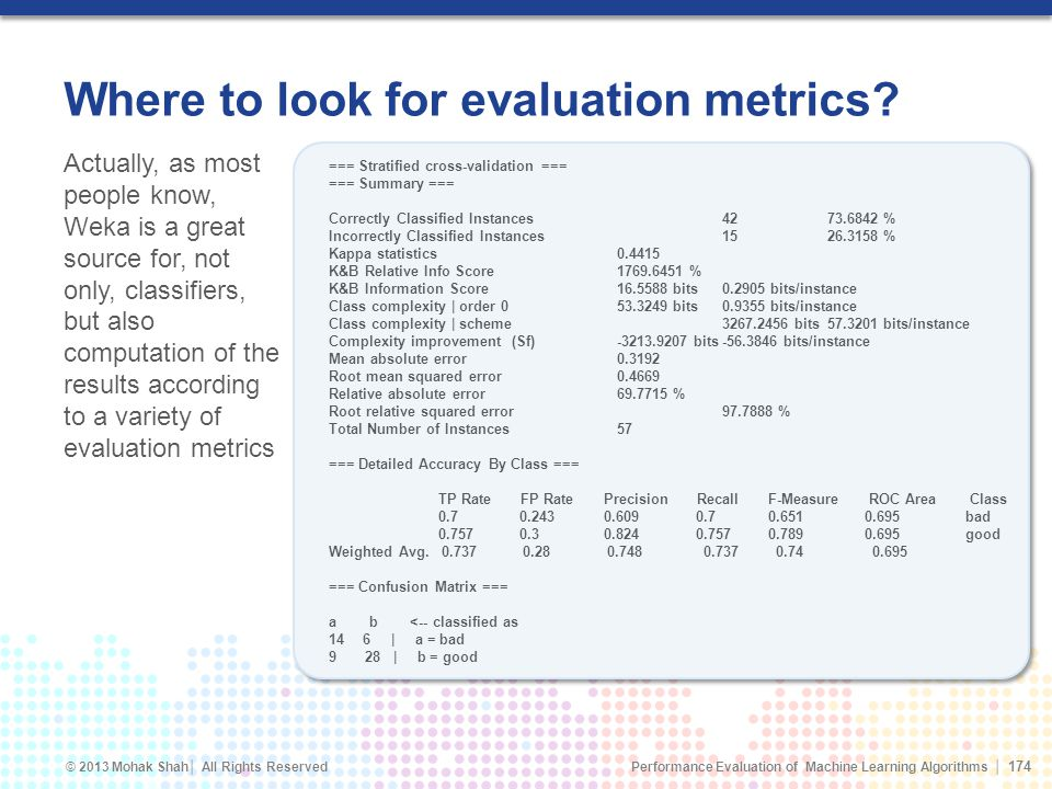 Where to look for evaluation metrics
