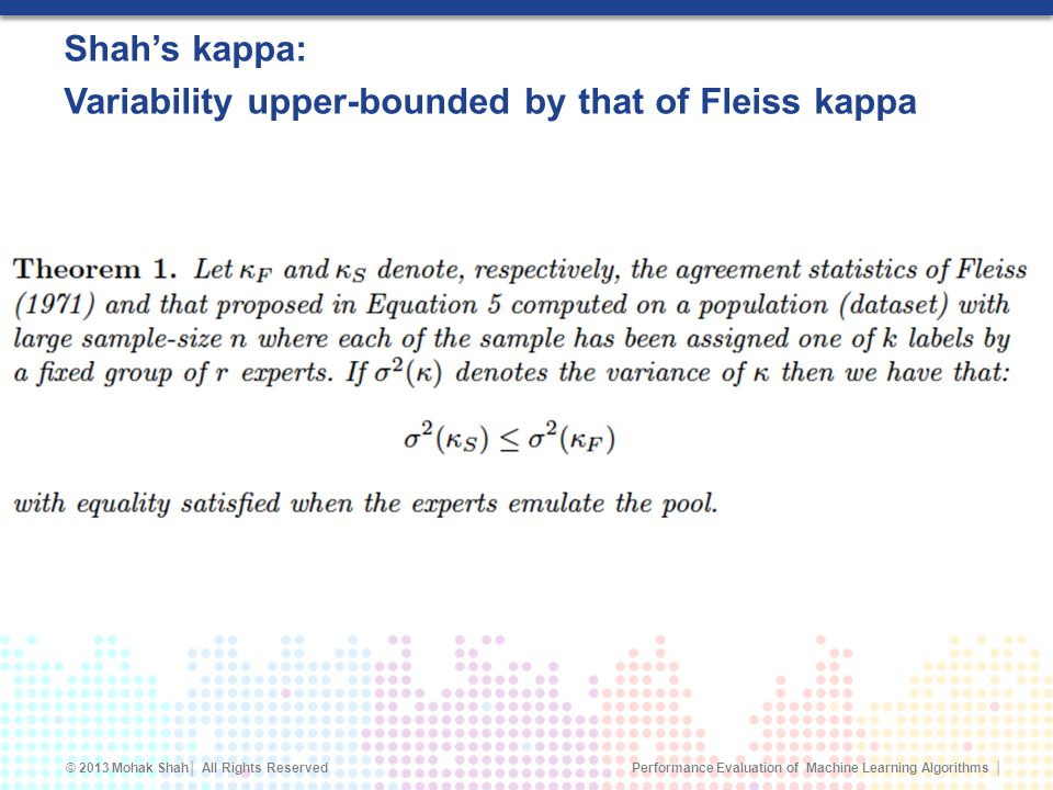 Shah's kappa: Variability upper-bounded by that of Fleiss kappa