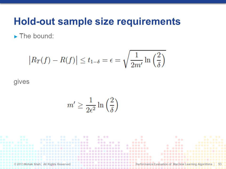 Hold-out sample size requirements
