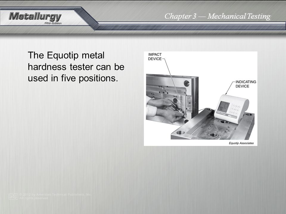 The Equotip metal hardness tester can be used in five positions.