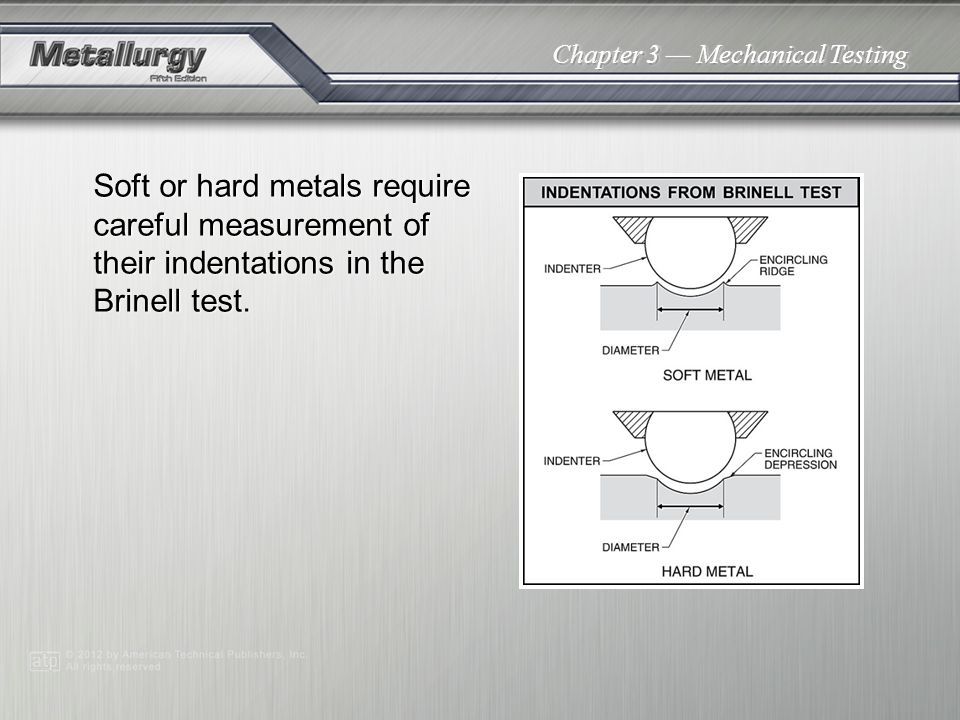Soft or hard metals require careful measurement of their indentations in the Brinell test.