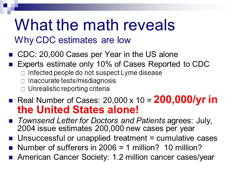 What the math reveals Why CDC estimates are low