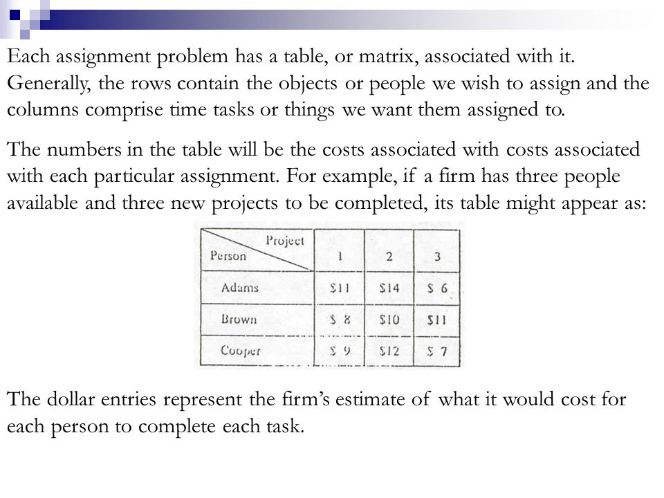 Each assignment problem has a table, or matrix, associated with it