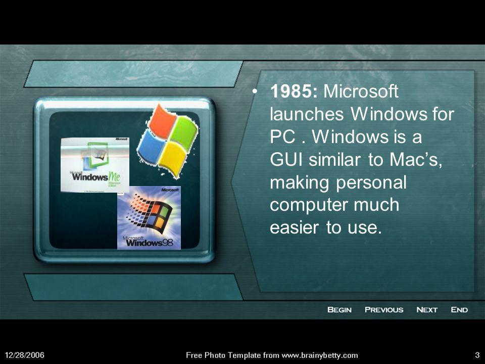 1985: Microsoft launches Windows for PC