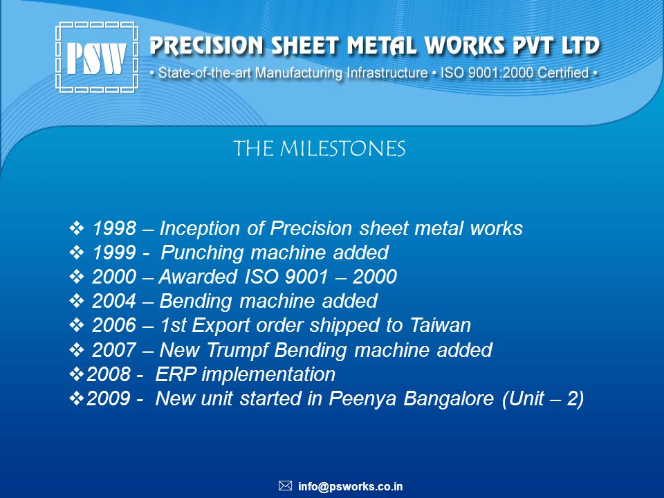 THE MILESTONES 1998 – Inception of Precision sheet metal works