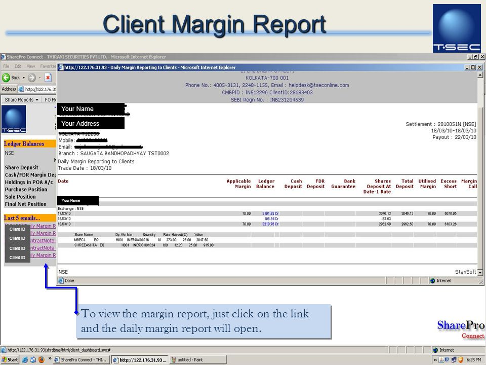 Client Margin Report Your Name. Your Address. Your Name. Client ID. Client ID. Client ID. Client ID.