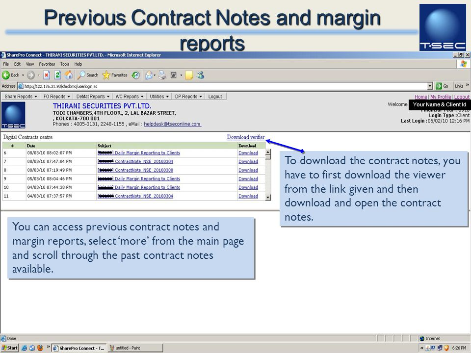 Previous Contract Notes and margin reports