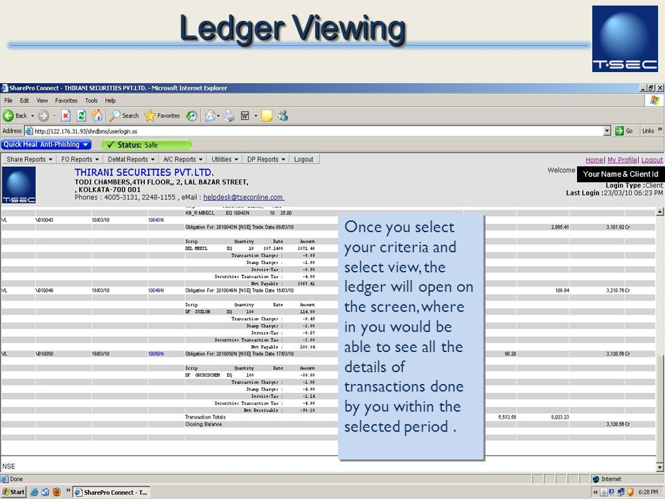 Ledger Viewing Your Name & Client Id.