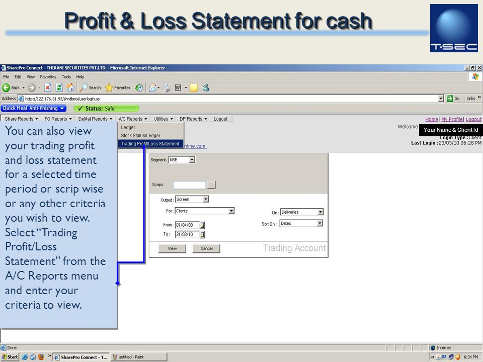 Profit & Loss Statement for cash