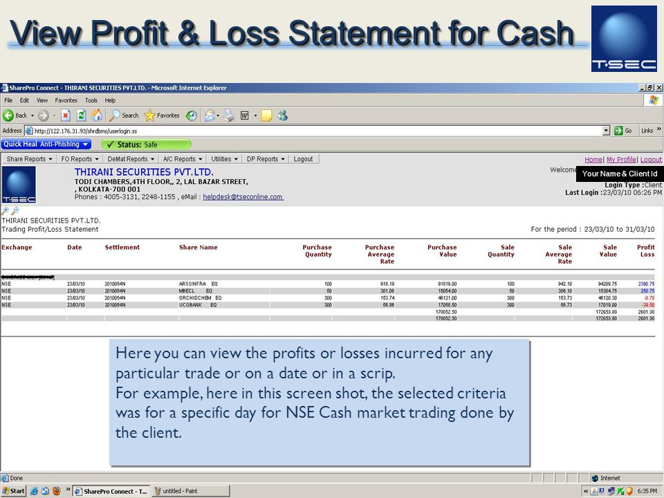 View Profit & Loss Statement for Cash
