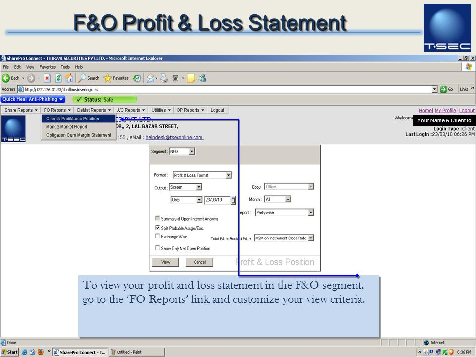 F&O Profit & Loss Statement
