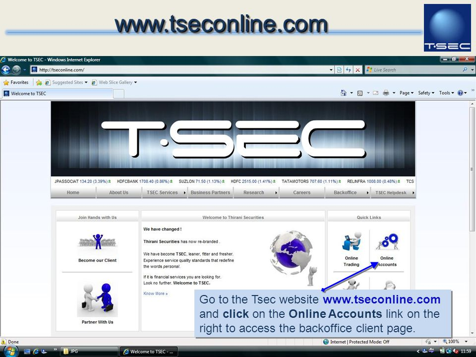 www.tseconline.com Go to the Tsec website www.tseconline.com