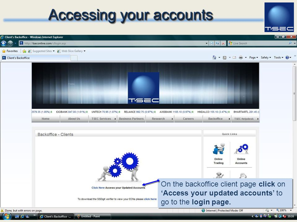 Accessing your accounts