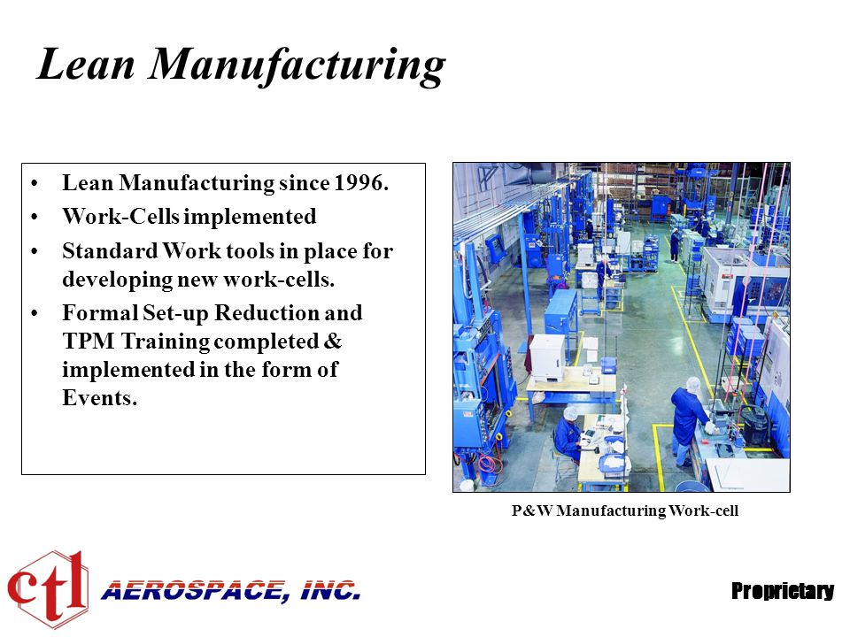 Lean Manufacturing Lean Manufacturing since 1996.