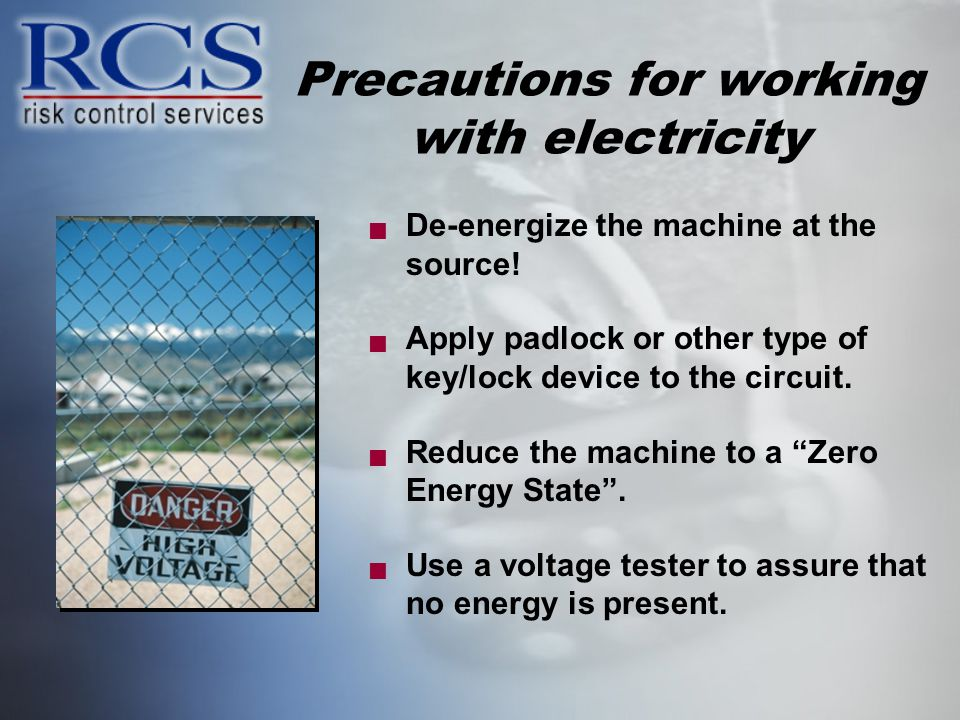 Precautions for working with electricity