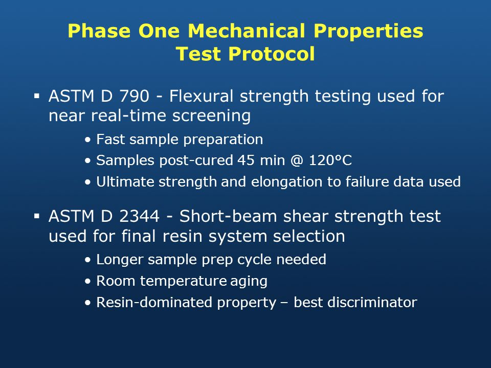 Phase One Mechanical Properties Test Protocol