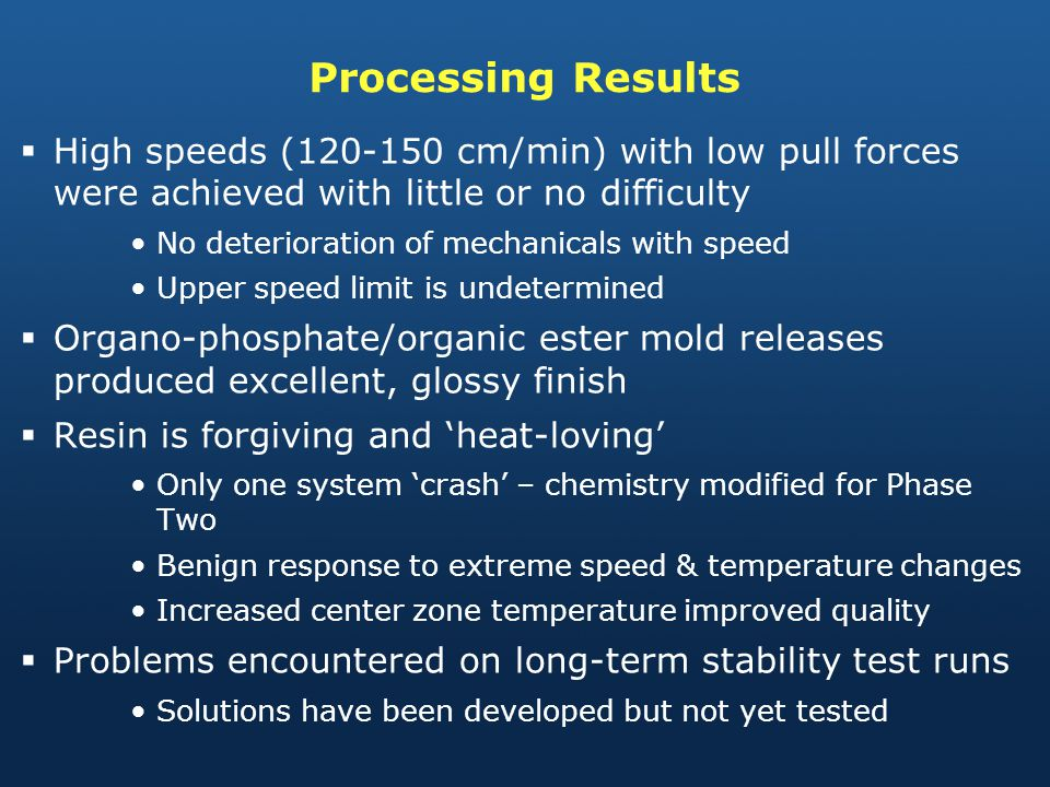 Processing Results High speeds (120-150 cm/min) with low pull forces were achieved with little or no difficulty.