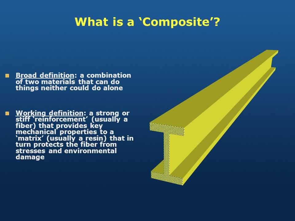 What is a 'Composite' Broad definition: a combination of two materials that can do things neither could do alone.