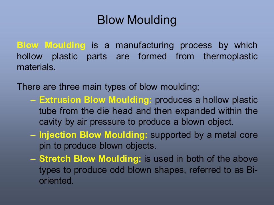 Blow Moulding Blow Moulding is a manufacturing process by which hollow plastic parts are formed from thermoplastic materials.