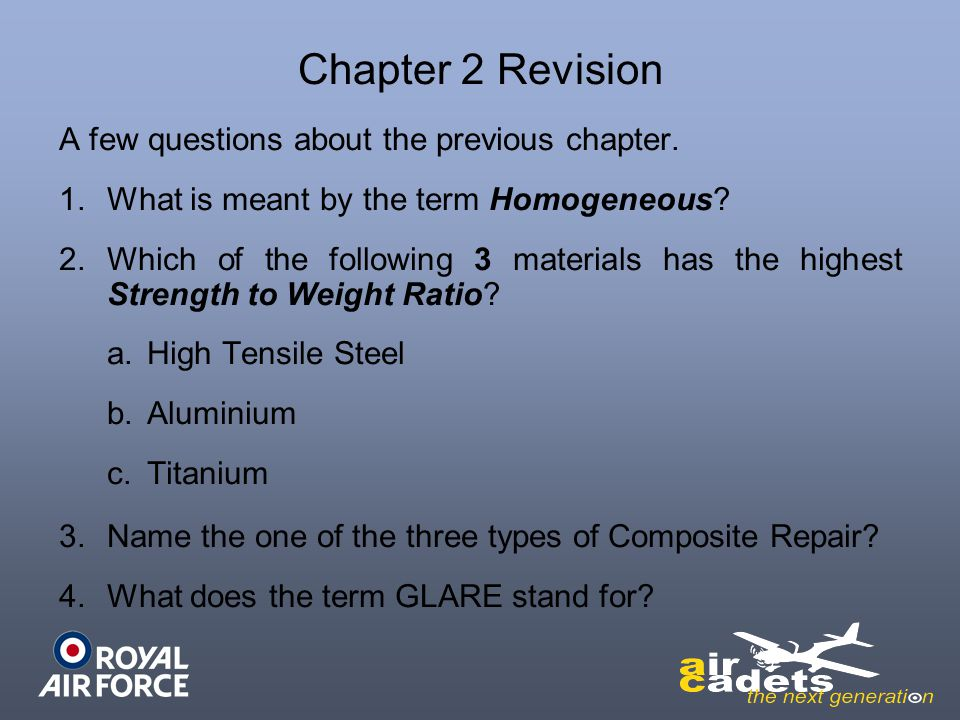 Chapter 2 Revision A few questions about the previous chapter.