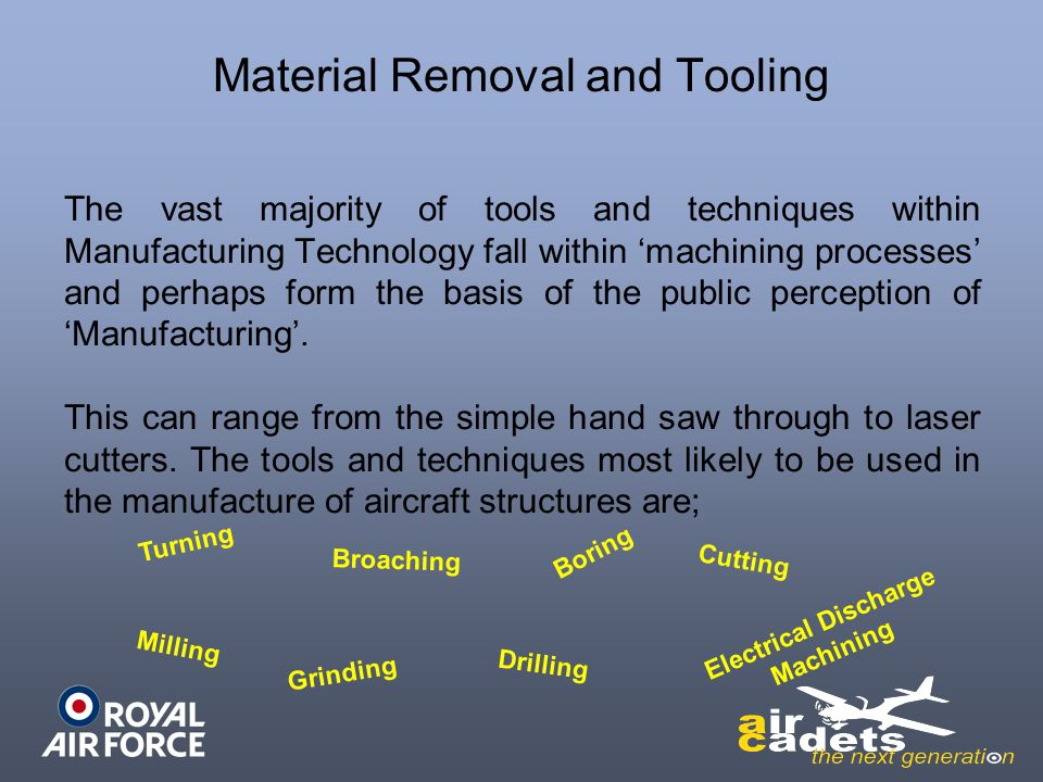 Material Removal and Tooling