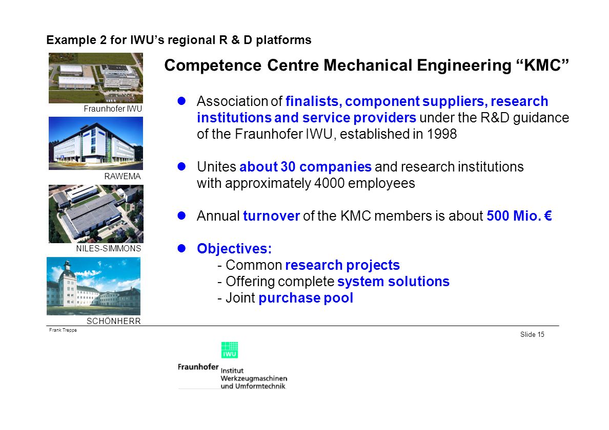Example 2 for IWU's regional R & D platforms