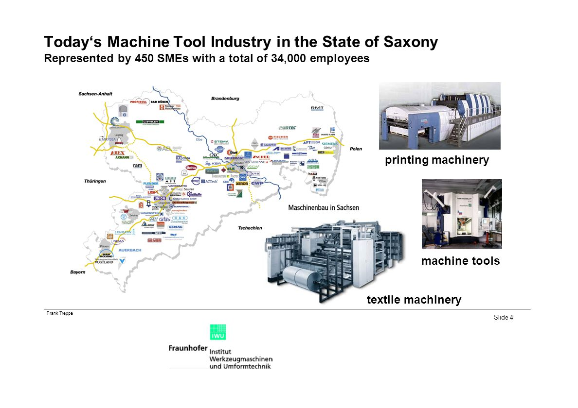 Today's Machine Tool Industry in the State of Saxony Represented by 450 SMEs with a total of 34,000 employees