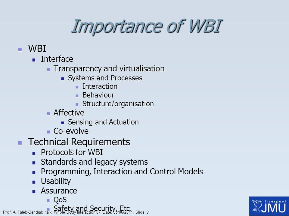 Importance of WBI WBI Technical Requirements Interface