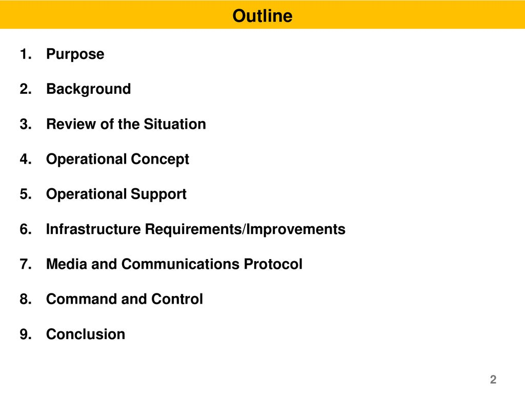 Outline Purpose Background Review of the Situation Operational Concept