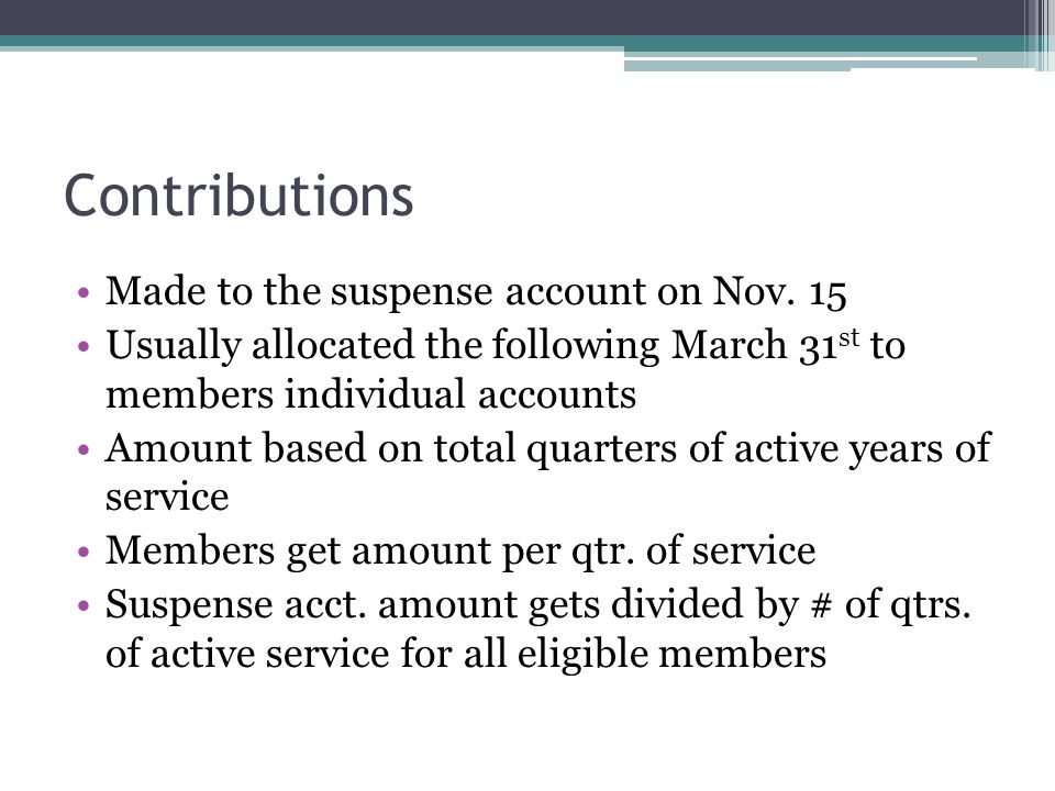 Contributions Made to the suspense account on Nov. 15
