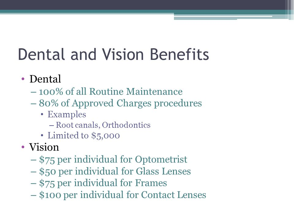 Dental and Vision Benefits